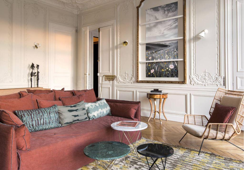 Appartement Haussmannien avec couleurs et matières chaudes