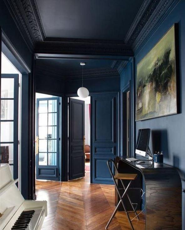 Appartement Haussmannien avec Peinture au Plafond modernes