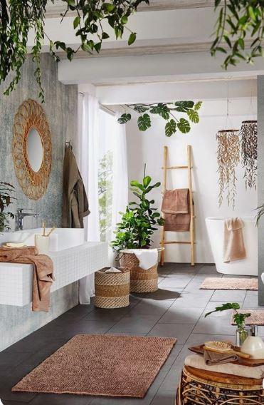 Salle de bain décoration bohème