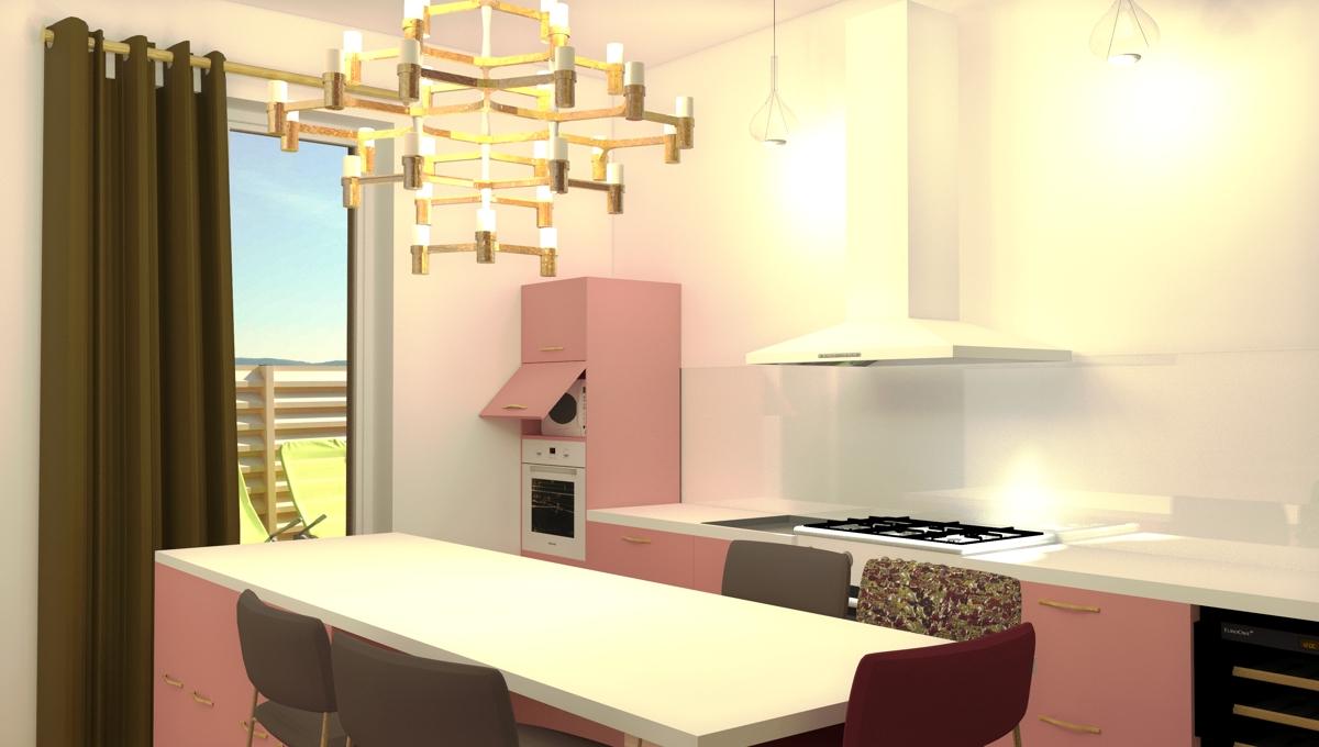 Transformation d'un salon en cuisine pour un couple de 45 ans avec enfants