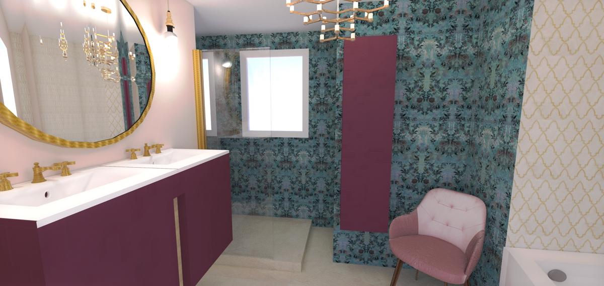 Salle de bain cossue aux matières chaudes et colorées
